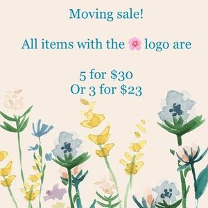 🌸 means 5 for $30 or 3 for $23!